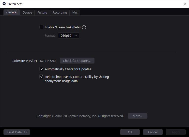 Elgato 4k utility_general setings