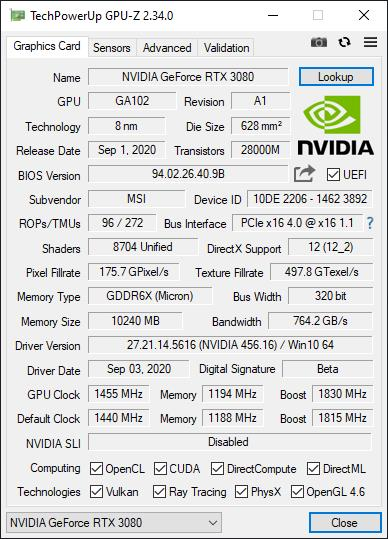 MSI GeForce RTX 3080 GAMING X TRIO 10G 4