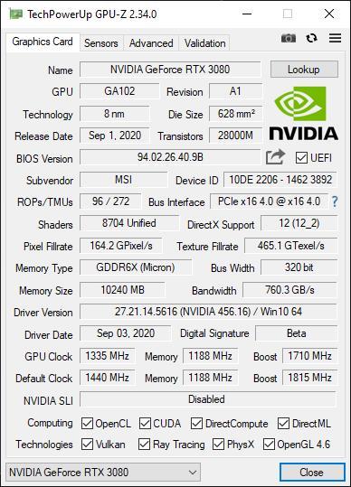 MSI GeForce RTX 3080 GAMING X TRIO 10G 5