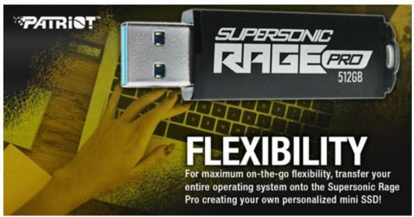 Patriot launches Supersonic Rage Pro USB 3.2 Gen.1 Flash Drive 4