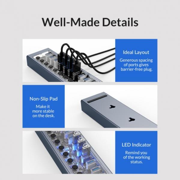 ORICO Aluminum Powered USB Hub Review 11